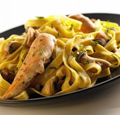 Kylling med svampe og pasta