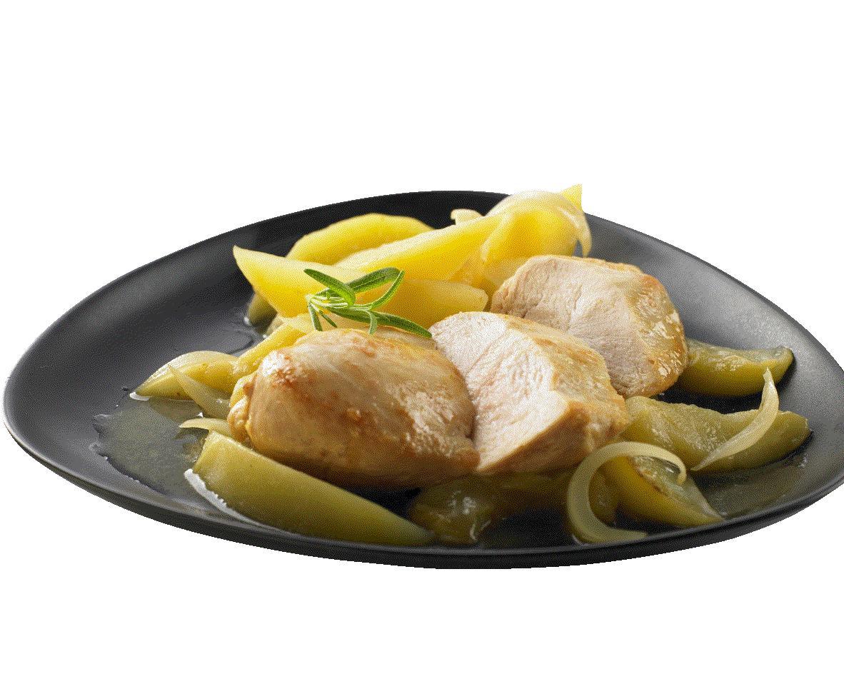 Kylling med stegte æbler og kartofler