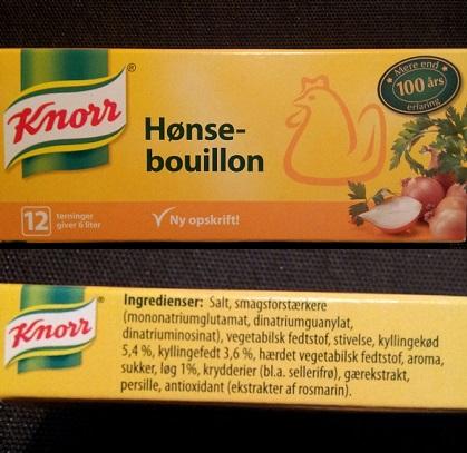 Knorr hønsebouillon uden mælk med ingredienser